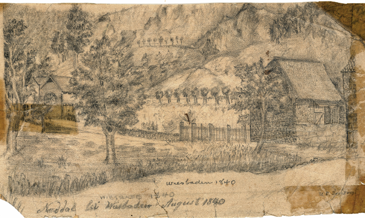 Ulrich Tandrop Drawing of Wiesbaden, Germany, 1840