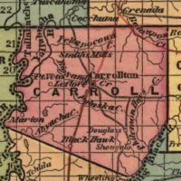 1842 Map of Carroll County, Mississippi