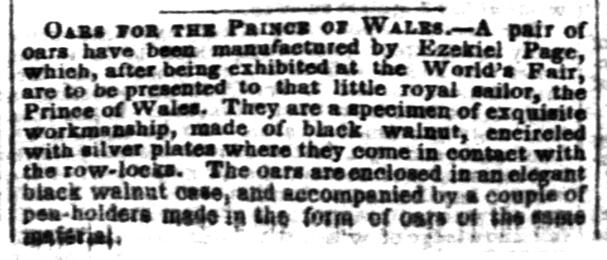 1851-02-01 The Baltimore Sun (Baltimore MD) Sat Feb 1, 1851, p1, Oars for the Prince of Wales