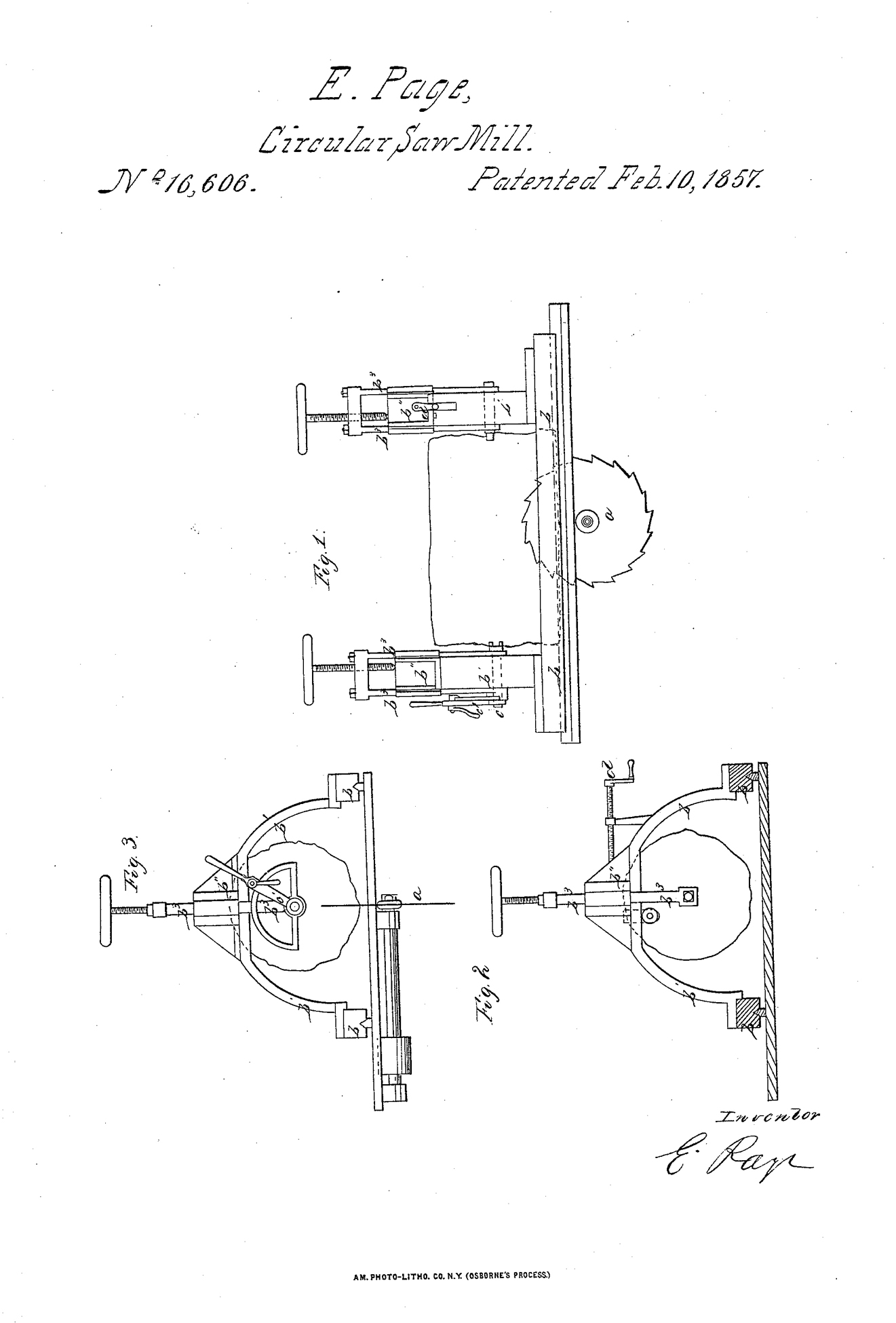 1857-02-10 E. Page, Circular Saw Mill, Patent No. 16,606, page 1