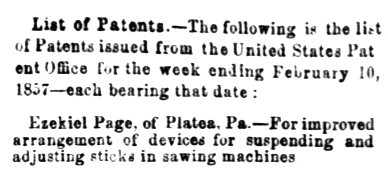 1857-02-11 Evening Star (Washington, DC) Wed Feb 11, 1857, p1, List of Patents