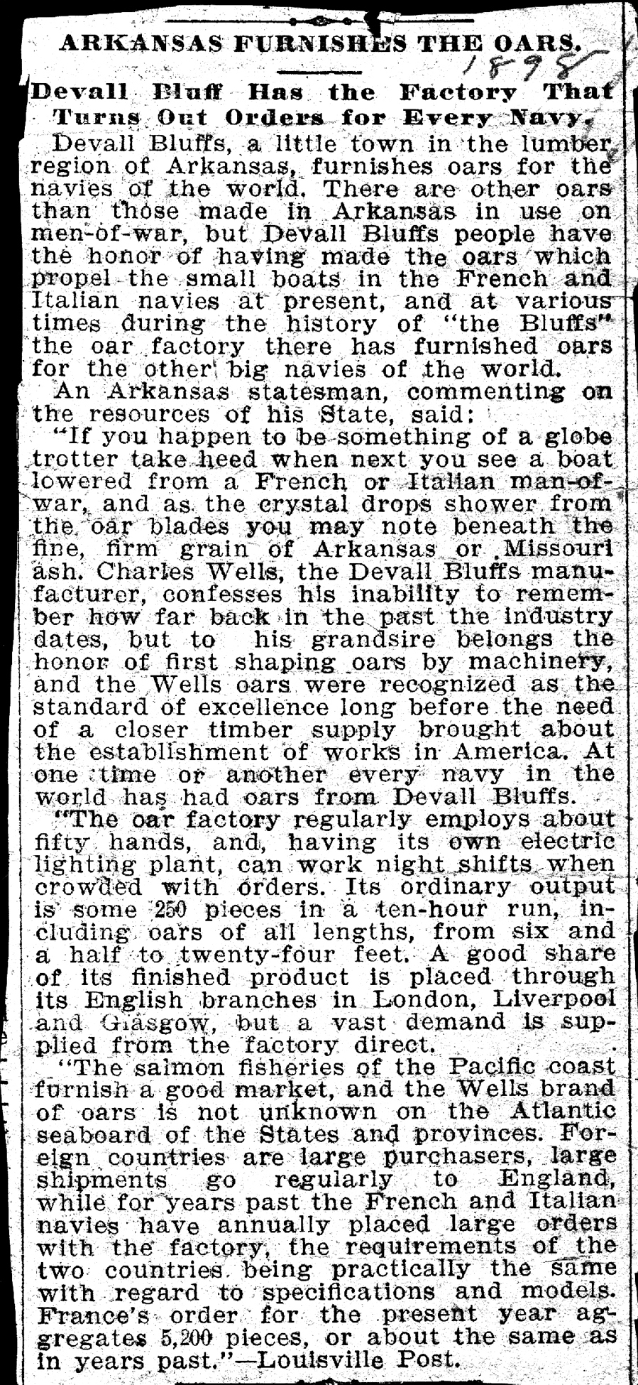 1898 Arkansas Furnishes the Oars