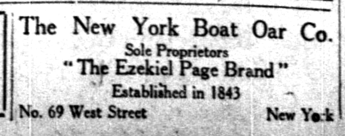 1911-09-18 The New York Times Mon Sep 18, 1911, p34, The New York Boat Oar Company Ad
