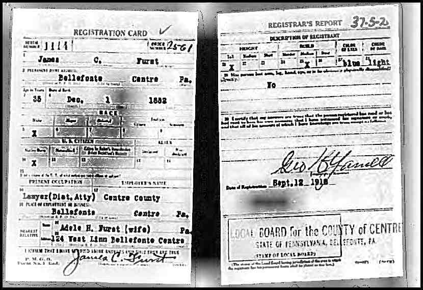 1918 James Chamberlin Furst Draft Registration Card