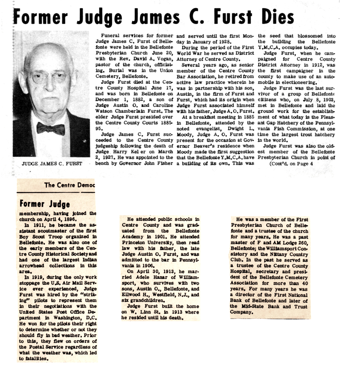 1968 Centre Democrat (Bellefonte, PA) Former Judge James C. Furst Dies