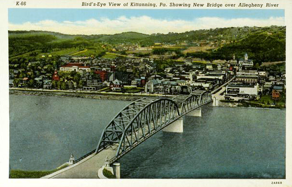 Bird's-Eye View of Kittanning, PA Showing New Bridge over Allegheny River