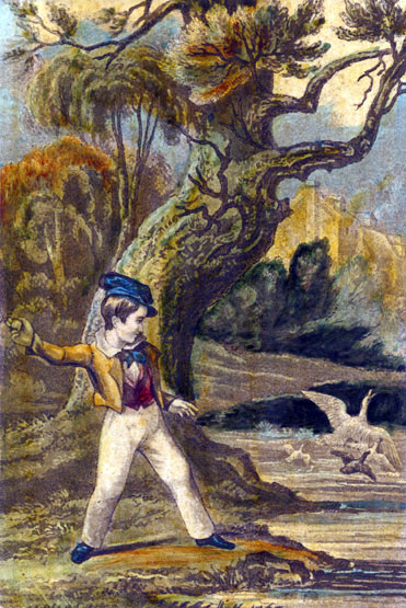 Boy Throwing Stones At Duck, Baxter Print