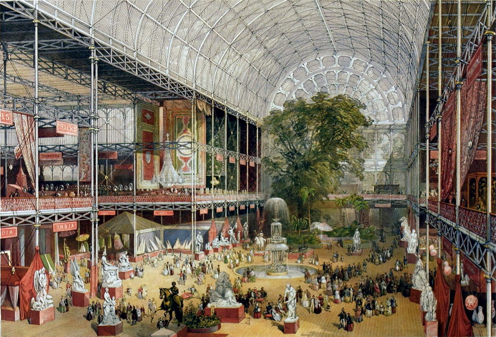 Crystal Palace interior, McNeven, J., The transept from the Grand Entrance, Souvenir of the Great Exhibition , William Simpson (lithographer), Ackermann & Co. (publisher), 1851, V&A