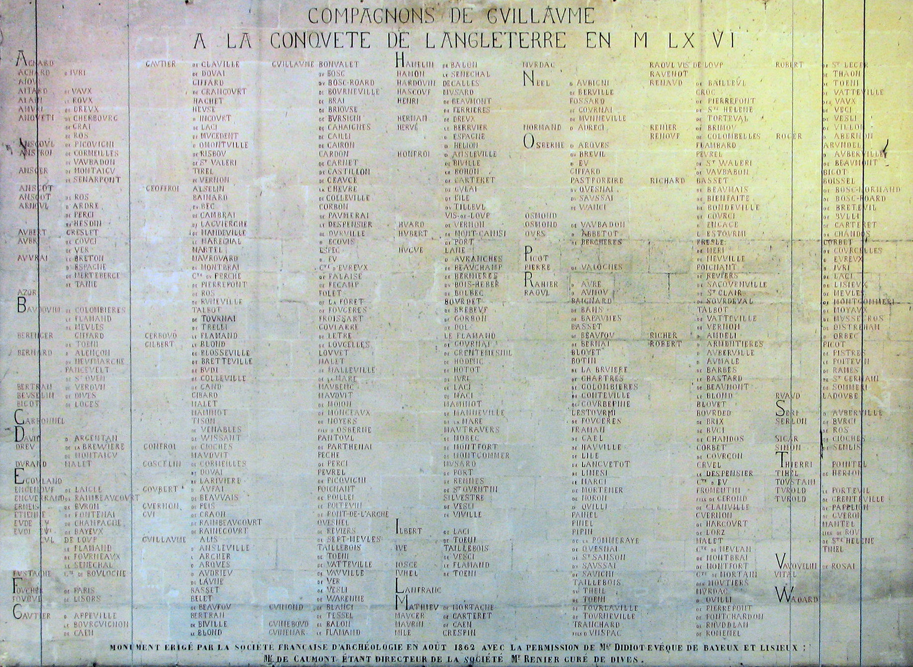 Eglise Notre Dame, Plaque with names of men who fought with William Conqueror