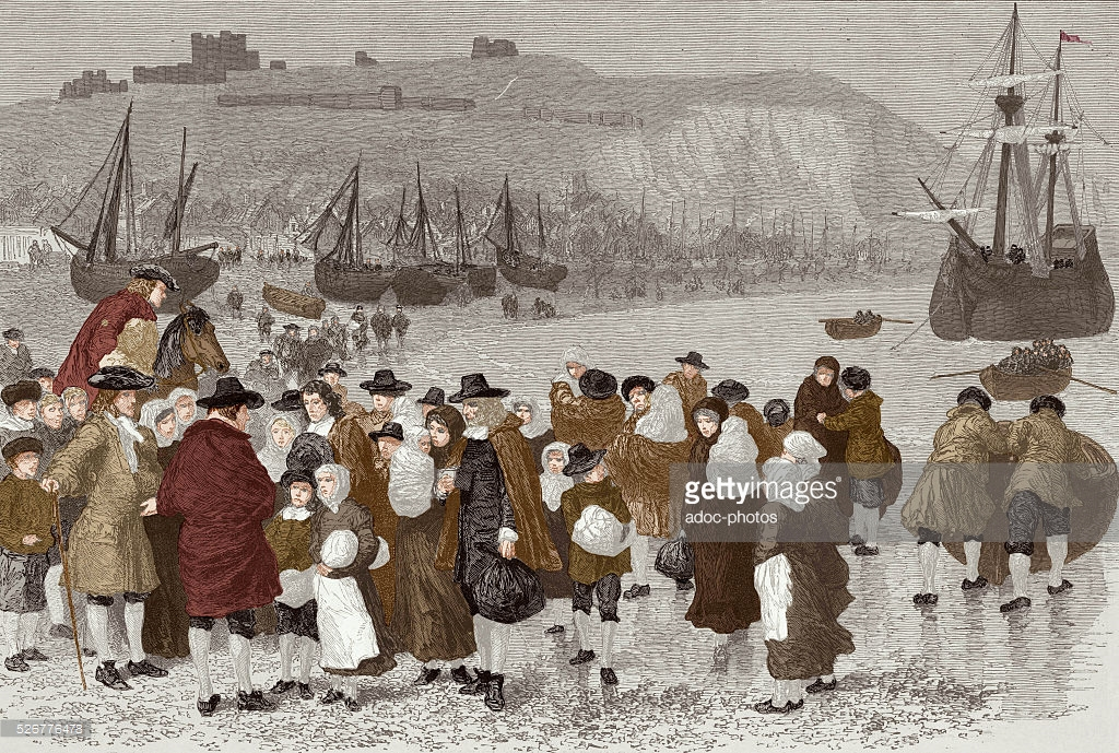 French Huguenots arriving in Dover (England) after the Revocation of the Edict of Nantes, 1685. Coloured engraving
