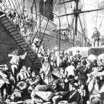 From the Old to the New World shows German emigrants boarding a steamer in Hamburg, to New York. Harper's Weekly, (New York) November 7, 1874