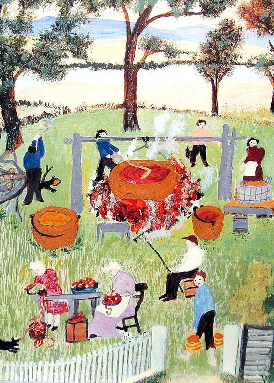 Grandma Moses, Apple Butter Making, Detail