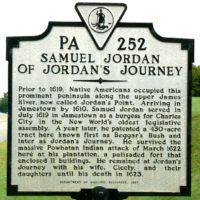 Historic marker at location of Jordan's Journey