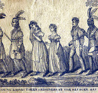Indians walking in file with a captive man and two captive women, LOC