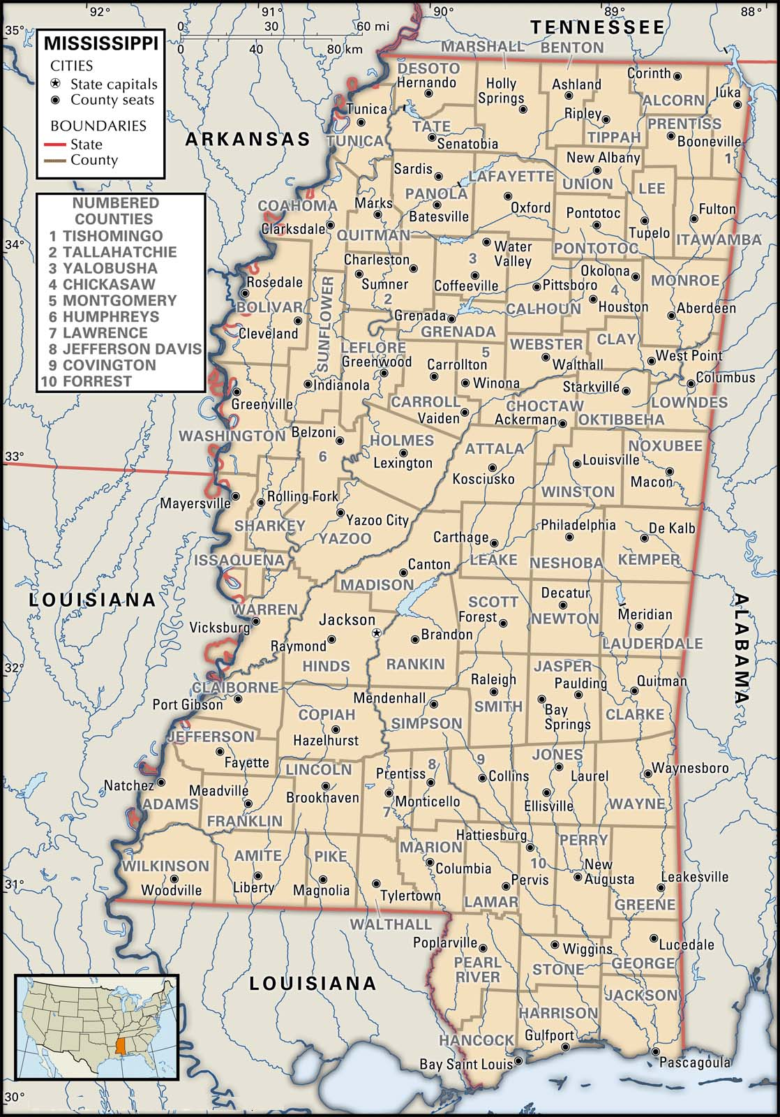 Mississippi Map With Cities And Counties Mississippi, General Info and Maps – KarenFurst.com