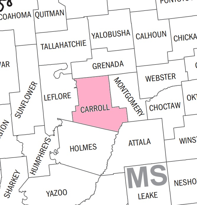 Carroll County Mississippi County Map KarenFurstcom - Mississippi county map