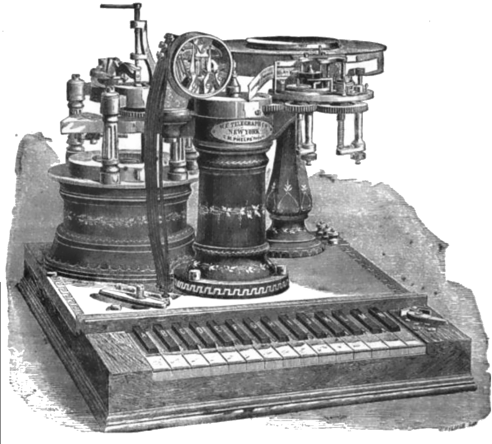 Phelps' Electro-motor Printing Telegraph from circa 1880, the last and most advanced telegraphy mechanism designed by George May Phelps
