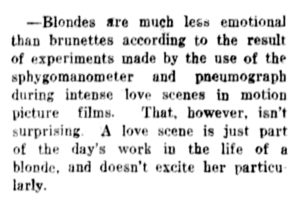 The Philadelphia Inquirer (Philadelphia, PA) Wed Feb 1, 1928, p12, Blondes Are Less Emotional Than Brunettes