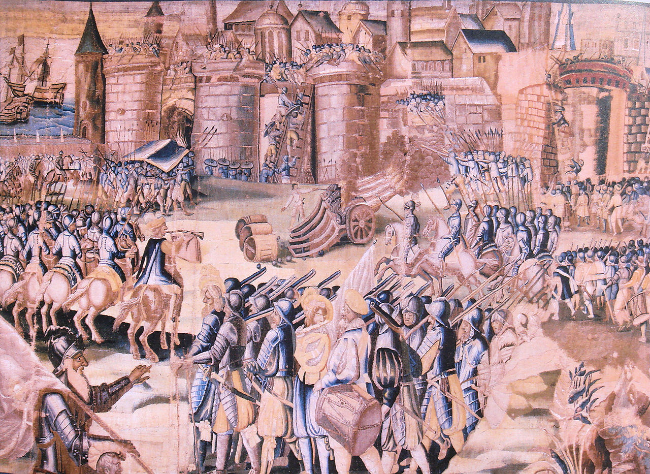 The Siege of La Rochelle by the Duke of Anjou in 1573 (History of Henry III tapestry, completed in 1623), Musee d'Orbigny Bernon