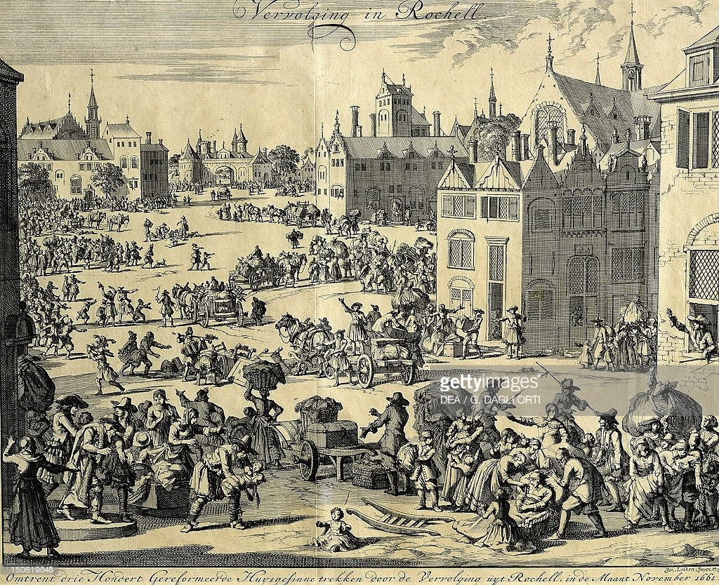 Three hundred families of persecuted Huguenots leaving La Rochelle, November 1661, engraving by the Dutch school. Wars of Religion, France, 17th century.