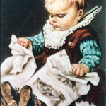 William Blomberg Painting - Toddler Ripping Paper