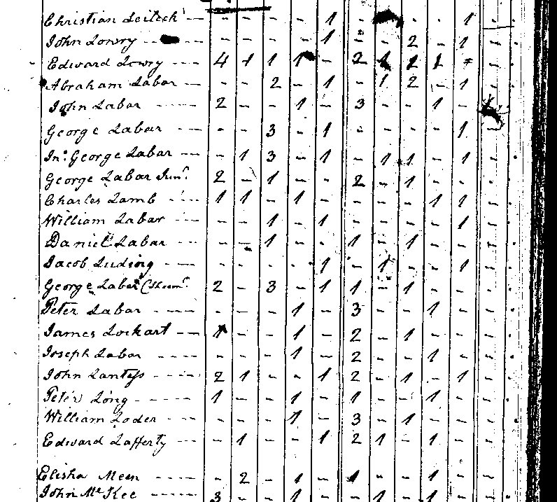 Mount Bethel Township Census 1800