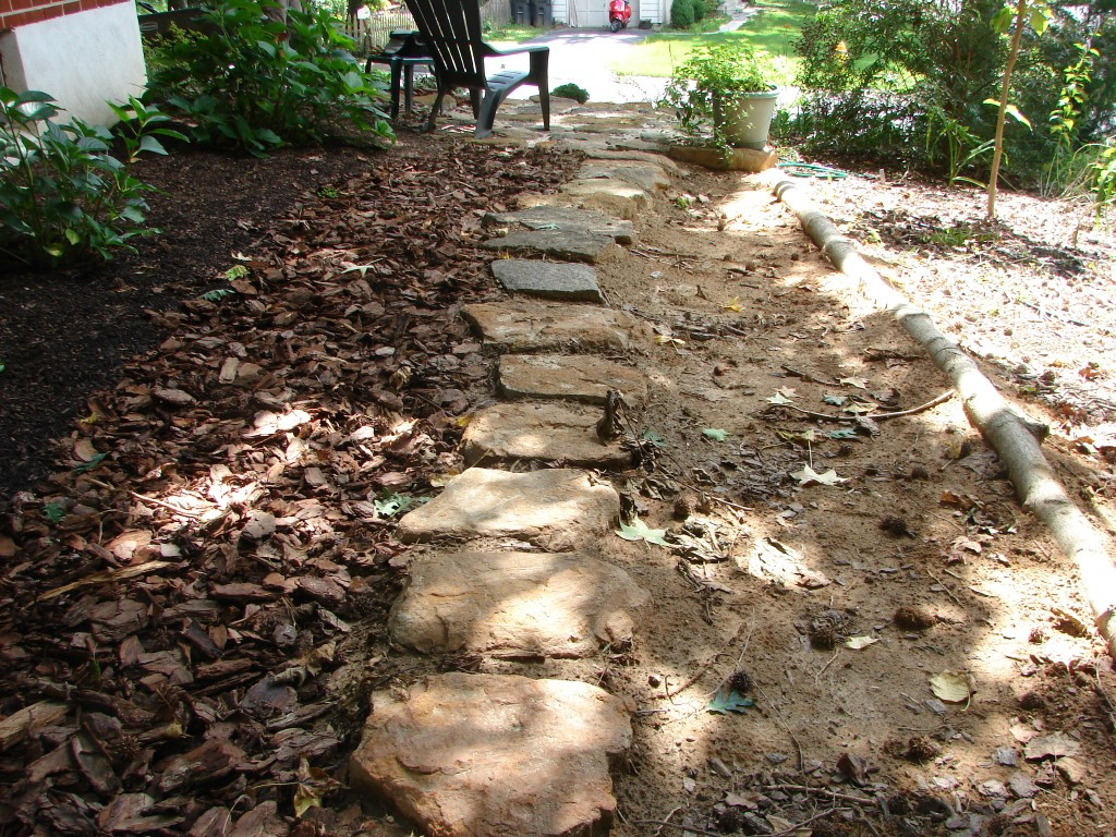 west side yard, facing south, stepping stones with mulch 3
