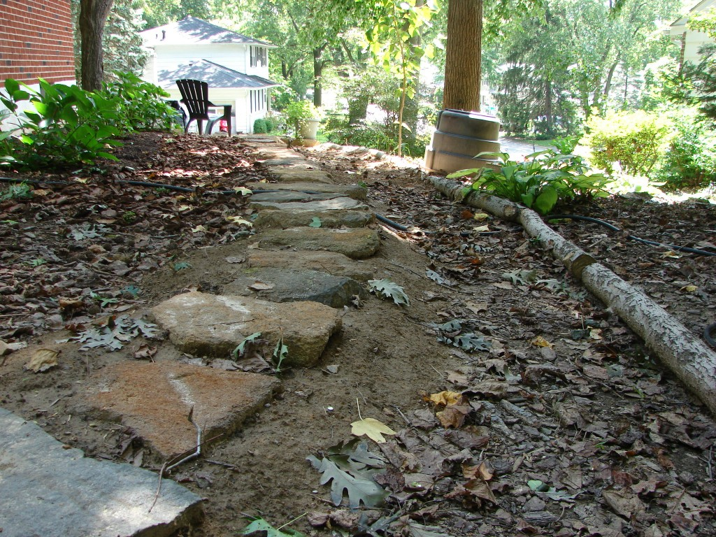 west side yard, facing south, stepping stones with mulch 4